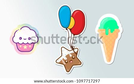 set of cute sticker sweeties