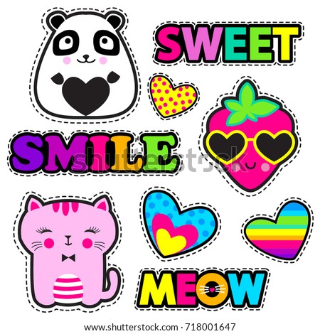 Set of cute stickers and different elements with watermelon, strawberry, panda, cat, heart and words. Girlish stickers in bright colors on white background. Fashion patch, badges in cartoon style.