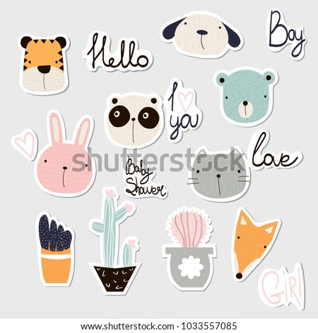 Set of cute stickers with animals, cactus and lettering. Vector hand drawn illustration.