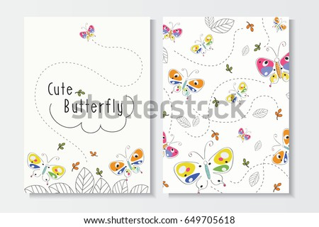 Set of Cute Summer Card Template.Colorful  Hand Drawn Butterfly and Leaf  Vector Patterns for Backgrounds and Brochures.