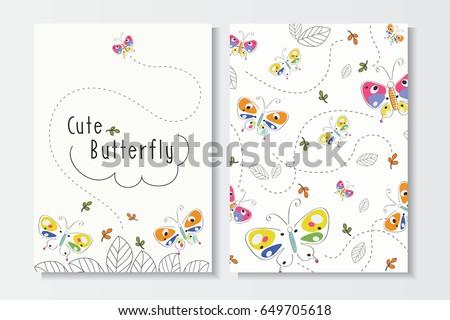 set of cute summer card