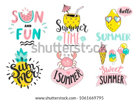 Set of cute summer hand drawn labels, logos, tags and elements for holiday, travel, beach vacation with positive quotes. Perfect for web,card,poster,cover,tag,invitation,sticker. Vector illustration.