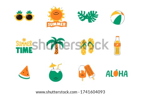 Set of cute summer icon : Sun, Beach ball, Slipper, Sunglass, food, drinks, palm leaves, fruits. Bright summertime poster. Collection of scrapbooking elements for beach party. cartoon doodle style