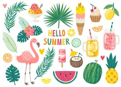 Set of cute summer icons: food, drinks, palm leaves, fruits and flamingo. Bright summertime poster. Collection of scrapbooking elements for beach party.