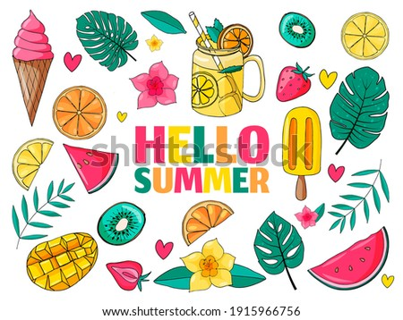 Set of cute summer icons: food, drinks, palm leaves, fruits and ice cream. Bright summertime poster. Collection of scrapbooking elements for beach party. Zdjęcia stock ©