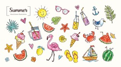 Set of cute summer icons: food, drinks, tropical leaves, fruits, flamingo, crab, seagull. Bright summer poster. Collection of scrapbooking elements for beach party. Vector flat style design. Doodle