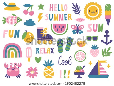 Set of cute summer icons: summer food, fruits, crab, sun, rainbow, roller skate. Bright summertime card. Collection of scrapbooking elements for a beach party. Isolated on white.