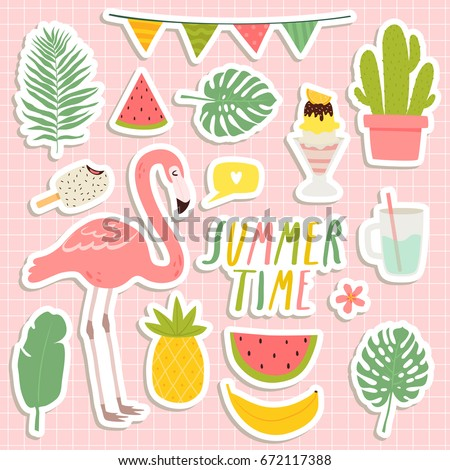 set of cute summer stickers. cute flamingo, cacti, palm leaves, food and drink stickers. design for summer cards, posters or party invitations