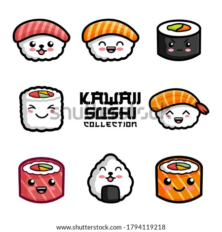 set of cute sushi in kawaii style vector illustration. Japanese food. Japanese traditional cuisine dishes. Kawaii sushi hand drawn on white background.