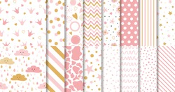 Set of cute sweet pink seamless patterns Wallpaper for little baby girl Pink dotted background collection Vector illustration Hand drawn wrap wallpaper cover fabric cloth textile naive pyjamas design.