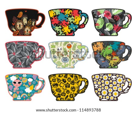 Set of cute tea cups with patterns. Vector illustration.