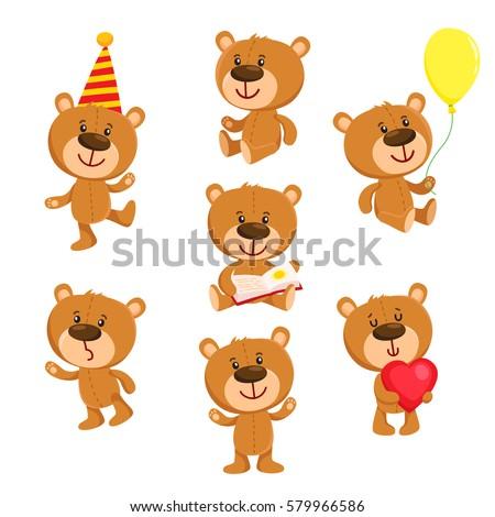 set of cute teddy bear