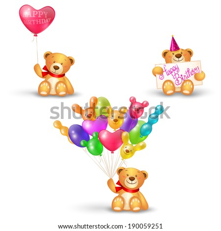 set of cute teddy bears with
