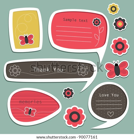set of cute text frames. vector illustration