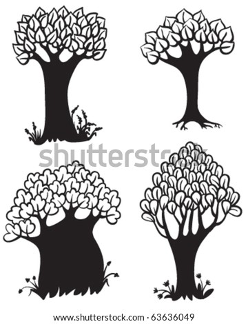 Set of cute trees silhouettes
