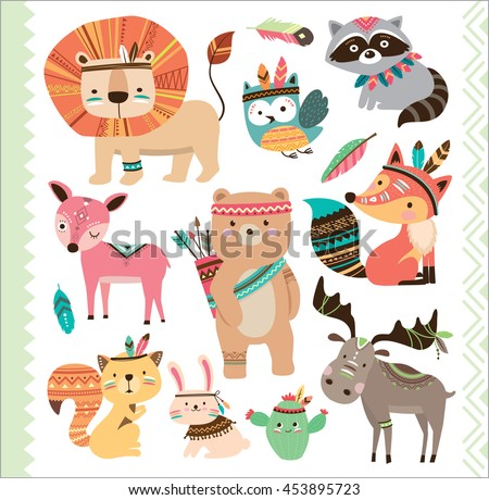 set of cute tribal animals in