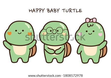 set of cute turtle cartoon
