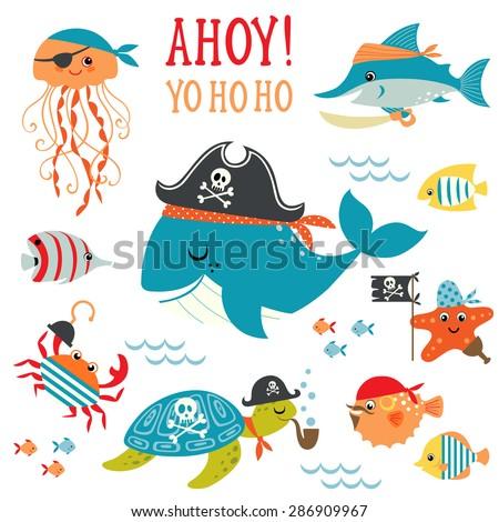 set of cute undersea pirate