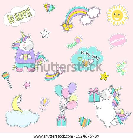 set of cute unicorn icons