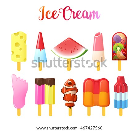 set of cute unusual ice cream