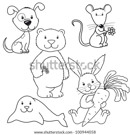 set of cute vector contour animals, dog, rabbit, mouse, bear, seal, isolated - stock vector