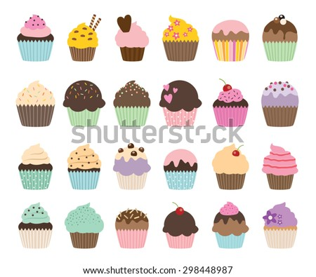 set of cute vector cupcakes and