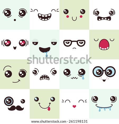 set of cute vector faces, different emotions