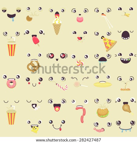 set of cute vector faces eating