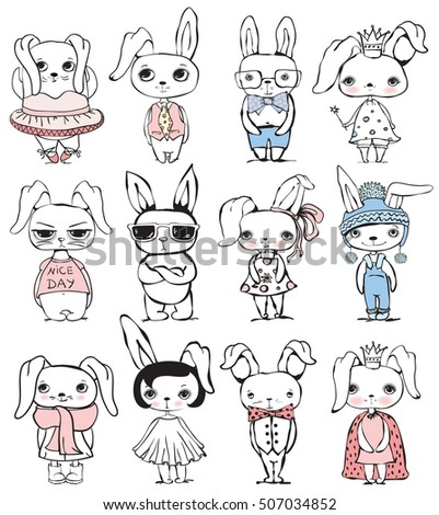 set of 12 cute vector fashion