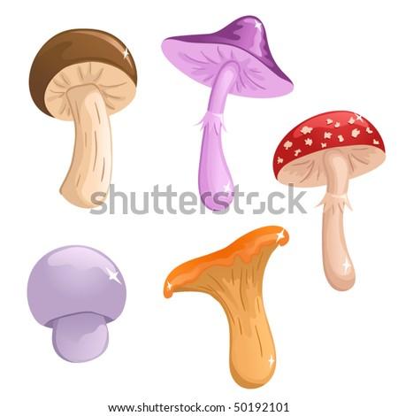 Set of cute vector mushrooms