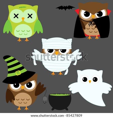 Set of cute vector owls in Halloween costumes