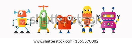 Set of cute vector robot characters for kids. Funny retro style robotics on white isolated background
