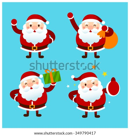 set of cute vector santa claus