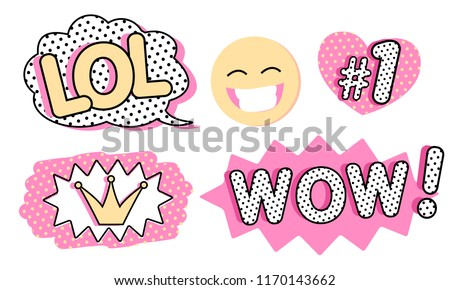 Set of cute vector stickers. Bubble for text, princess crown, WOW, LOL icons and laughing emoji. Pink color with black doodle stroke and dots. Pop art doll style. Photo booth props for birth party #1170143662