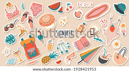 Set of cute vector summer stickers for daily planner. Collection of scrapbooking elements for beach party:cocktail,bag,ice cream,bikini,beach hat.Tropical vacation.Summertime doodle icons pack
