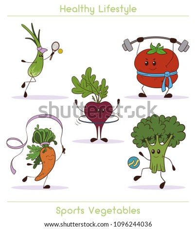 Set of cute vegetables doing sport. Cute and focused vegetable characters. Carrot, broccoli, tomato, onion, beet.