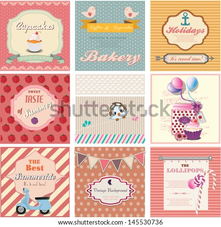 set of cute vintage labels and invitation cards