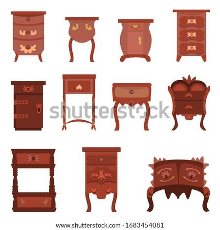 set of cute vintage nightstands