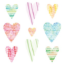 Set of Cute Watercolor Hearts Clip Art with Various Painted Patterns. Perfect for Valentines Day Designs
