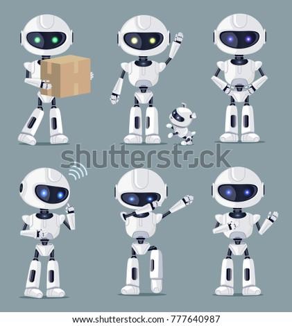 set of cute white ai machines