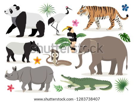 set of cute wild animals and