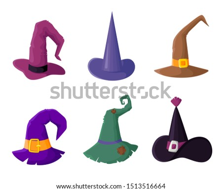 Set of cute witches hats for halloween party, wizard headgears clipart - isolated vector icons on white, funny and creepy objects, traditional holiday isolated symbols, flat style