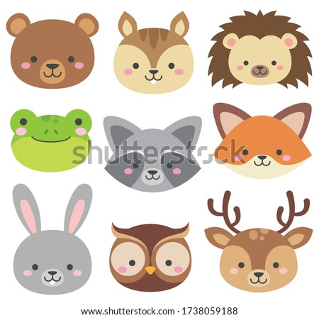 Set of cute woodland animals heads isolated on white. Forest critters graphic. Cartoon character faces are bear, rabbit, frog, squirrel, hedgehog, owl, deer, fox, raccoon. Vector illustrations.