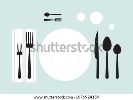 set of cutlery, table setting, icon spoon fork, lunch, breakfast, dinner, different types of cutlery