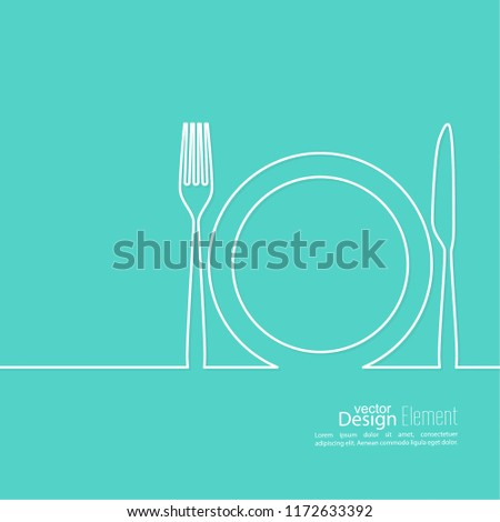 Set of Cutlery. Vector icon forks, knives, plates. Illustration of kitchen utensils.