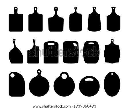 Set of cutting board silhouettes. Kitchen board contour. Boards for serving dishes, board for bread. Shapes for laser cutting, vector