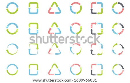Set of cycle arrows icon for Infographic, process diagrams, chart, graph. Set of circulation icons Isolated on white background. Stock photo ©