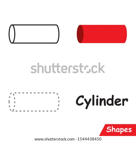 Set of Cylinders ready to use for education such as coloring pages, trace shapes. learn Cylinder shape. Stock photo ©