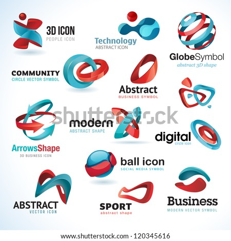 Set of 3d abstract vector icons