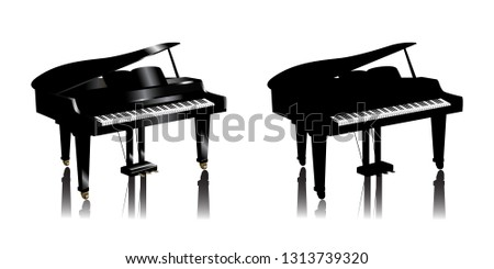 Set of 3d and silhouette piano icons isolated on white background